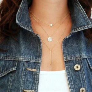 3/$20 GOLD Multilayer Necklace Coin Rhinestone Bar